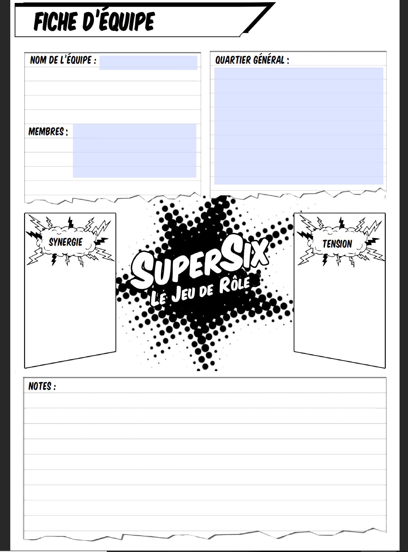 fiche d'équipe pour supersix version printer friendly