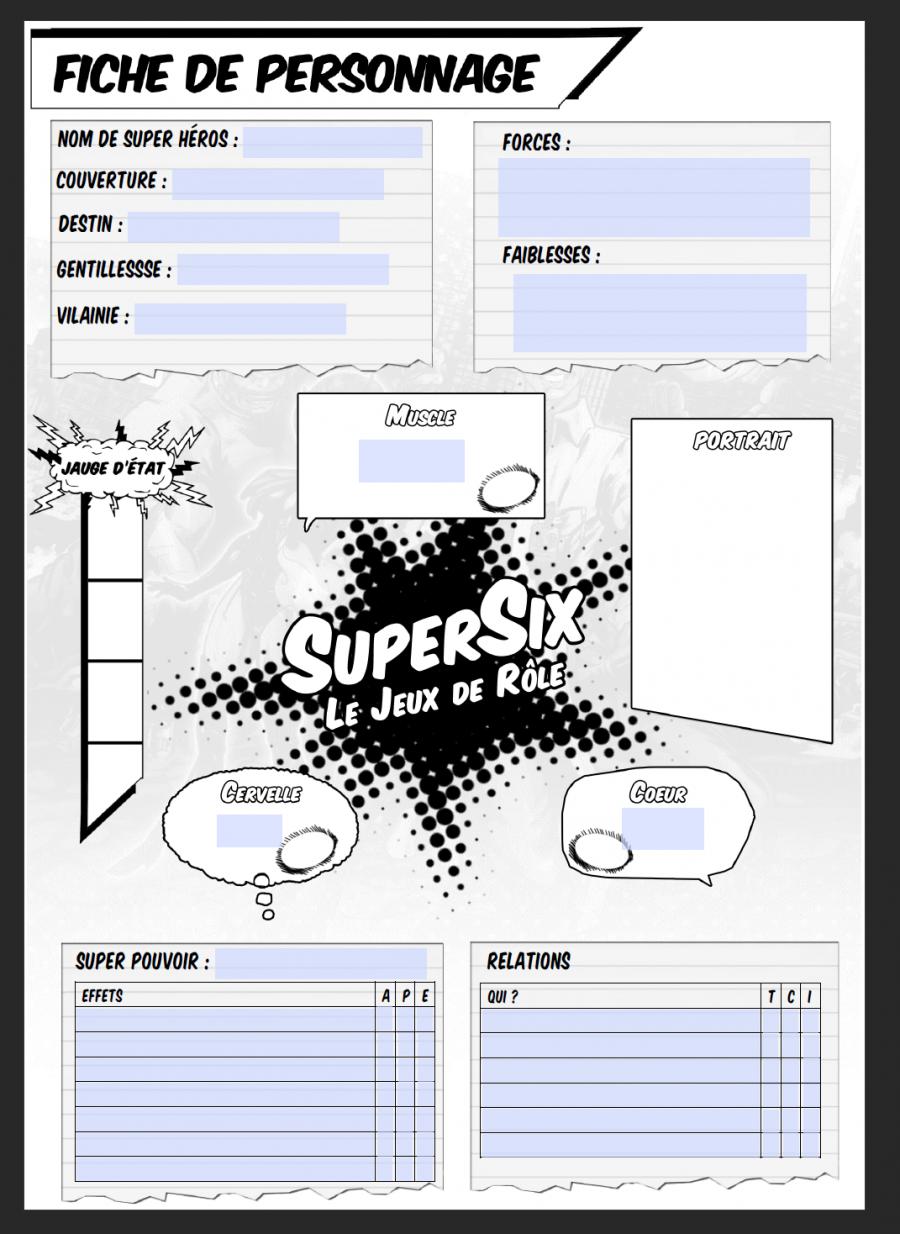 Fiche de personnage pour SuperSix